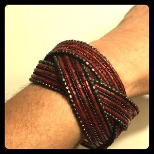 Beaded cuff braid bracelet red bronze stretch OS